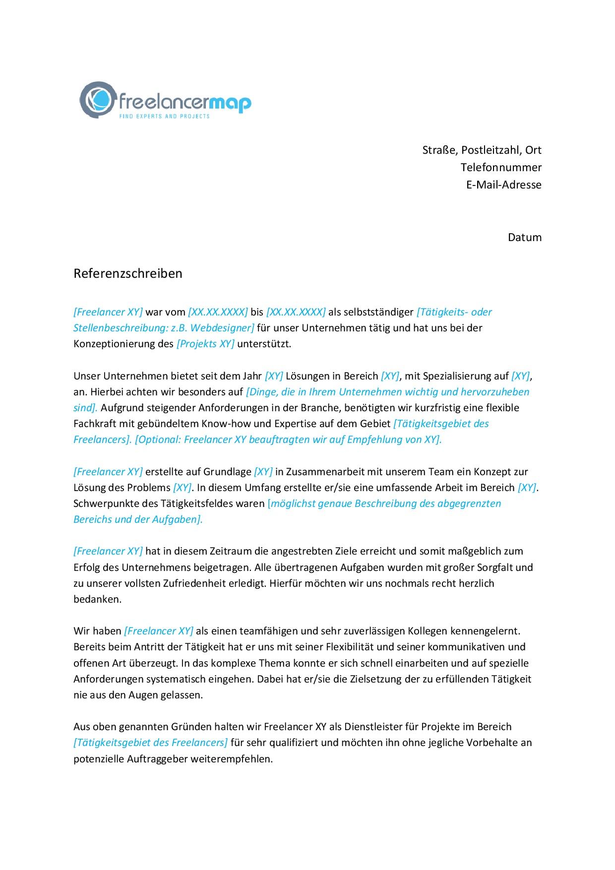 Empfehlungsschreiben Kostenlose Muster Vorlagen Bewerbung Co