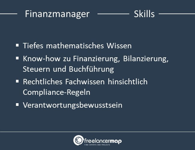 Zu den Skills eines Finanzmanagers gehören mathematisches Wissen, Finanzwissen, Rechtliches Fachwissen und Verantwortungsbewusstsein.