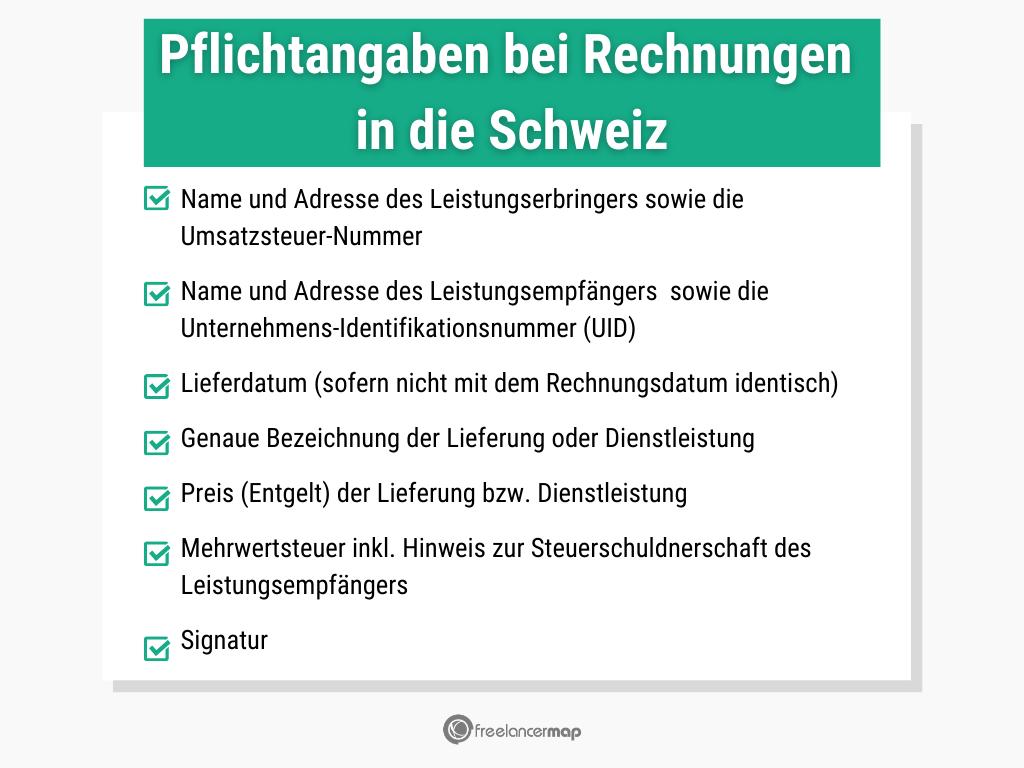 Eine Übersicht der Pflichtangaben für Rechnungen an Schweizer Kunden.