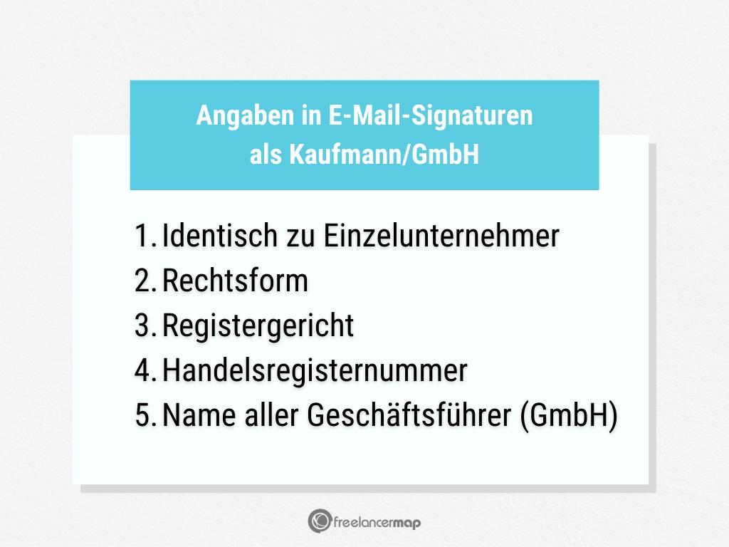 Welche Angaben sind in einer E-Mail-Signatur wichtig für einen Kaufmann oder eine eingetragene GmbH?