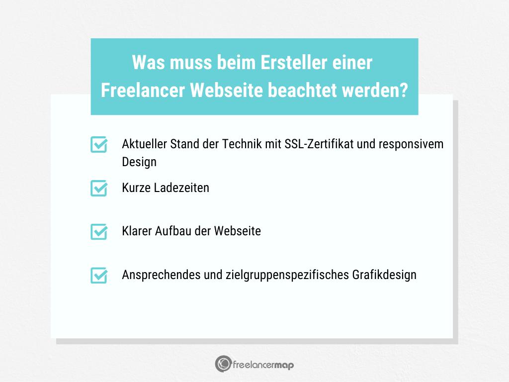 Welche Punkte müssen bei einer Webseite für Freelancer beachtet werden?