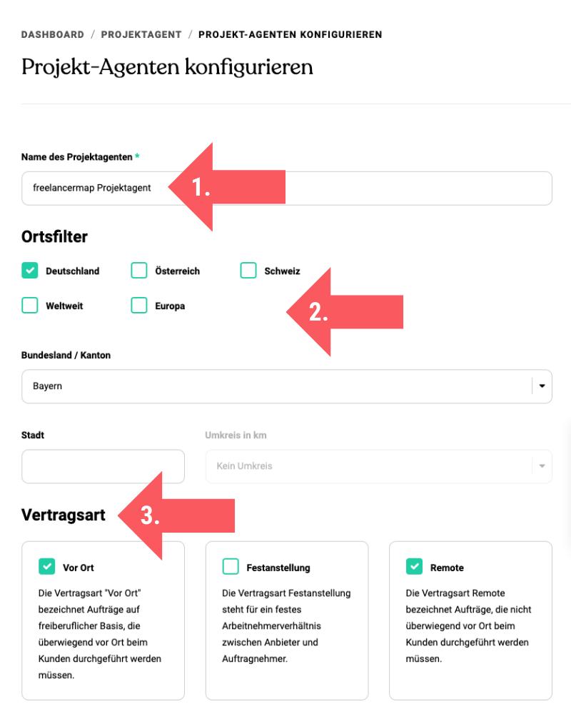 Screenshot von den Schritten 1 - 3 zur Konfiguration des Projektagenten auf freelancermap.de.