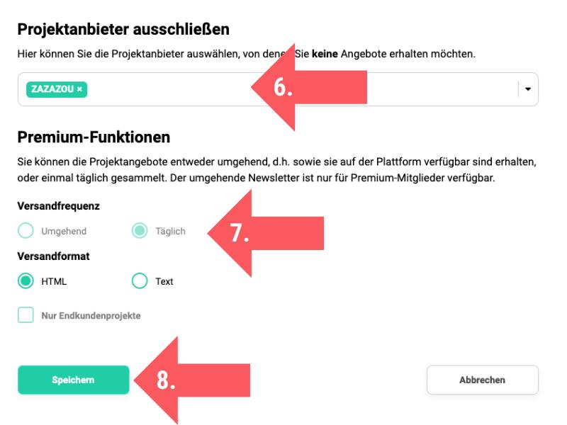 Screenshot von den Schritten 6 - 8 zur Konfiguration des Projektagenten auf freelancermap.de