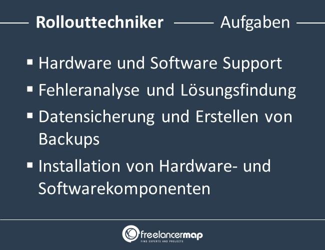 Aufgaben eines Rollouttechnikers.